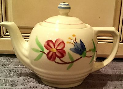 Vintage SHAWNEE USA  Red & Blue Flowers Horizontal ribbed base Teapot .