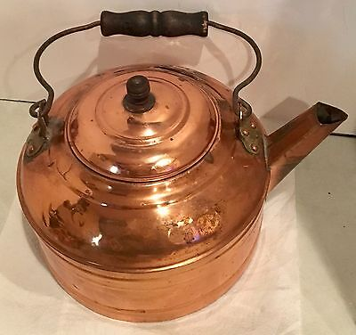 Antique 1 Gallon Paul Revere Copper Tea Kettle with Lid & Wooden Handle