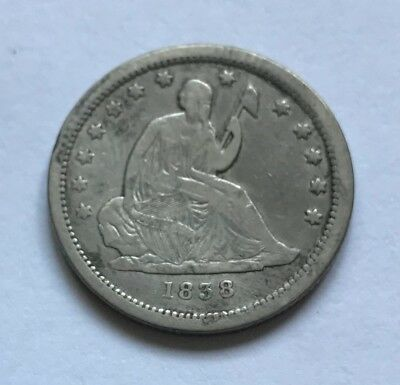 1838 Seated Liberty Quarter - F+ to VF