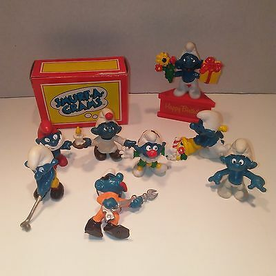 "Lot of 8 Vintage Smurf Vinyl/PVC Figures Peyo 1979 ""Happy B-day"" in Box 1980"