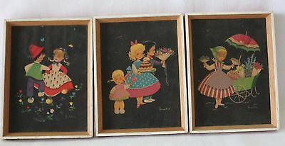 VINTAGE 1960's ~ Lot 3 Naive Children's Artwork By Frankie Timber Frame Picture