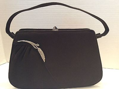 Vintage Black Rhinestone Clasp Evening Hand  Purse Designer Garay 1940 1950 Mint