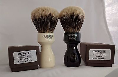 Retro Resin Manchurian Brush by Zenith.  27.5x51 mm. Two Band Badger. Italia