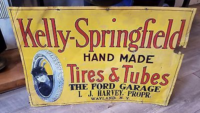 RARE Original Kelly Springfield Tire Tin Sign Gas Oil Can 1920's Graphic