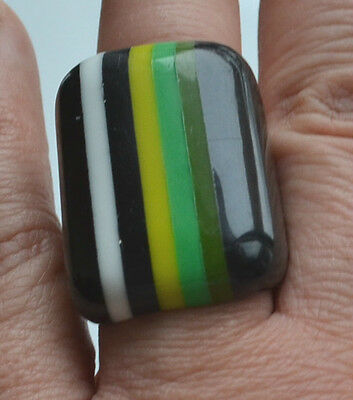 Sobral Ring Modernist Statement Layered Plastic Green Yellow Black White Size 6