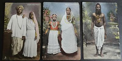 3 Indian Types Trinidad Raphael Tuck & Sons Aquagraph Postcards Costumes