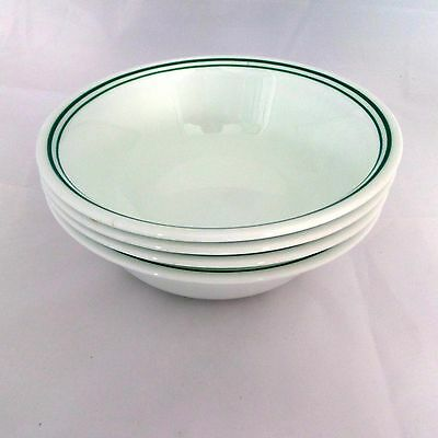 Set of 4 Corelle Rosemarie Soup or Cereal Bowls with 2 Aqua Stripes on Edge