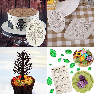 Home DIY Chocolate Tree Leaves Shape Cake Decor Mould Silicone Fondant Mold