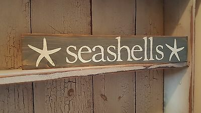Seashells sign with starfish, Pewter grey with cream lettering