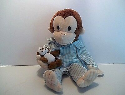 """12"""" Plush Curious George in Pajamas w/ Bear    Applause    Excellent"""