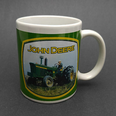 Coffee Mug: John Deere Licensed Tractor Farmer Pictures, Green & Yellow on White