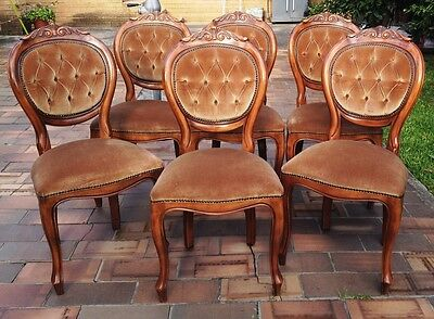 Antique Style (Reproduction) Ornately Carved Velvet Dining Chairs (Set of 6)
