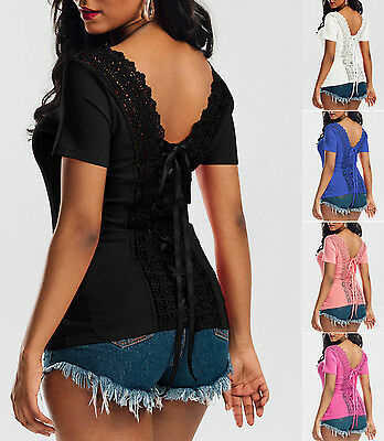 b34c078b56 Women Summer Short Sleeve Lace Up Bodycon Blouse Sexy Backless Clubwear Tops