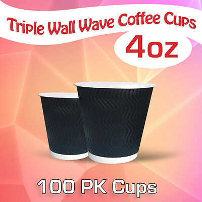 Disposable Triple Wall Wave Coffee Cups 4 Oz 100 Pk Cups Takeaway Cups Bulk