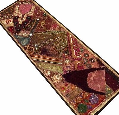 "60"" Crazy Quilt Heavily Beaded Sequin Sari Vintage Décor Tapestry Wall Hanging"