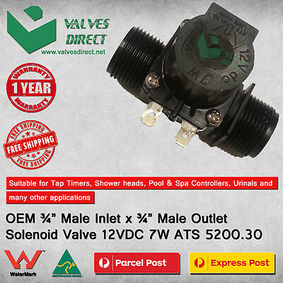 """3/4"""" inch Male Inlet x 3/4"""" inch Male Outlet Solenoid Valve 12VDC 7W ATS 5200.30"""