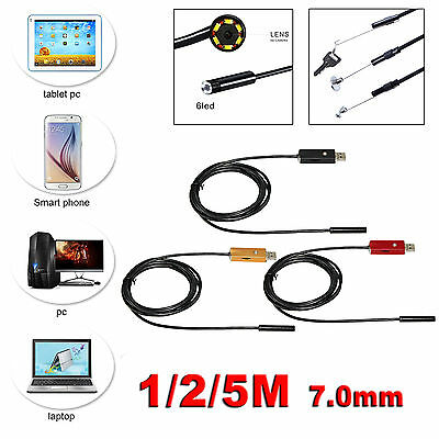 6LED 7mm Android phone PC Endoscope Waterproof USB Borescope Inspection Camera