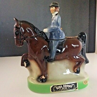 Ezra Brooks 1974 T.h -1 Heritage China Horse And Rider Empty Decanter Bottle