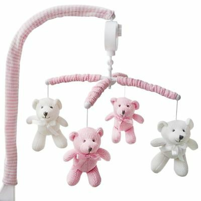 Living Textiles Nursery Cot Musical Mobile Set Bear White/Pink