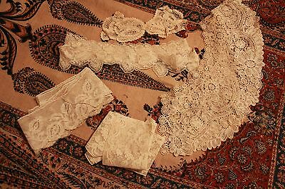 Lot Antique Lace Trim Victorian Clothing Remnants Yardage Collars Brussels Lace