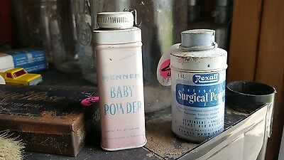 Lot of 2 Vintage Tins, Baby Mennen Powder & Rexall Surgical Powder