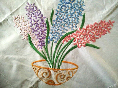"Hyacinth Decorative Bowls~Vintage Heavily Huge H? Embroidered Tablecloth 50""x64+"