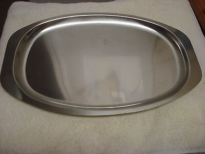 """Vintage MCM Denmark 10"""" X 15"""" S/S Stainless SERVING TRAY Danish STEEL HOUSE #1"""