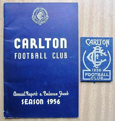 """1956  VFL Annual Report and Member's Card  - """"CARLTON  BLUES"""""""