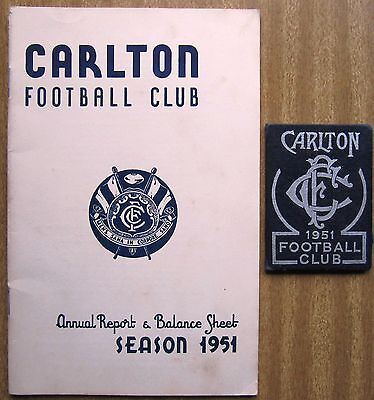 """1951  VFL Annual Report and Member's Card  - """"CARLTON  BLUES"""""""