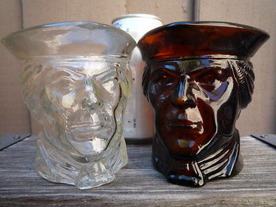 Vintage AVON Glass Candle Holders Cups Patriot Revolution Man Face