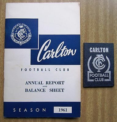 """1961  VFL Annual Report and Member's Card  - """"CARLTON  BLUES"""""""