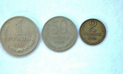 1964 Ussr Cccp Russia 3 Soviet Coin Set 2 50 Kopeks 1 Rouble Lot