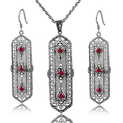 Victorian vintage 925 Sterling Silver Jewelry Sets Red  Ruby  Earrings Pendants