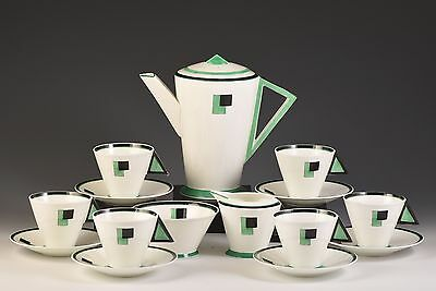 Shelley ART DECO GREEN BLOCKS MODE COFFEE SET C.1930