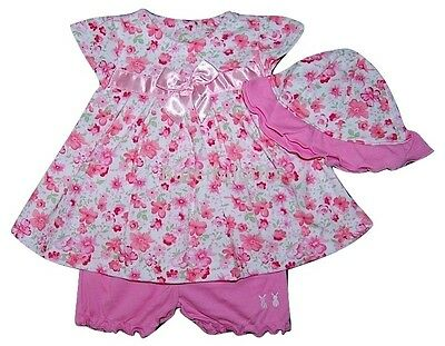 Baby Girls 3 Piece Pink Floral Spanish Style Dress Bloomers & Hat Set