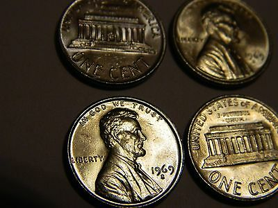 1969-S Lincoln Cent Silver Toned (1 From This Lot) ----- Lot #2,570