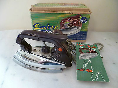 A Vintage French 'calor Matic' Electric Iron, With It's Original Box & Leaflet