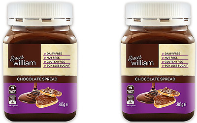 911292 2 x 385g JARS OF SWEET WILLIAM'S DAIRY/NUT/GLUTEN FREE CHOCOLATE SPREAD!