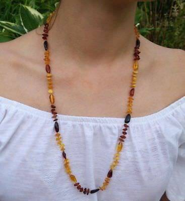 "27,5"" Beautiful Genuine Baltic Amber Necklace for Girl/Woman MIX"