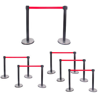 Black Stanchion Set Posts Queue Pole Retractable Red Belt Crowd Control Barrier