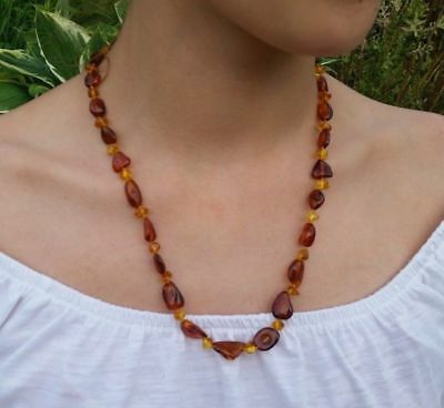 "22"" Beautiful Genuine Baltic Amber Necklace Cognac/Citrine for Girls/Woman"