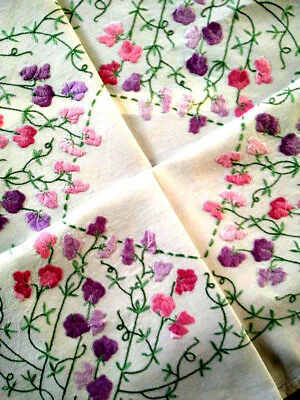 Glorious Pastel Raised SWEET-PEAS ~ Vintage Heavily Hand Embroidered Tablecloth