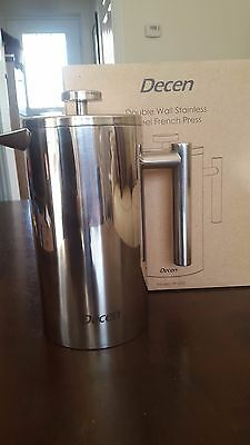 Decen French Press Coffee Maker, Double Walled Stainless Steel 1L