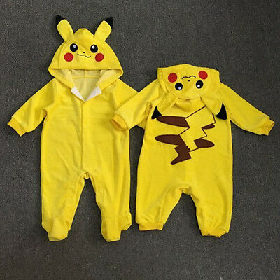 Newborn Kid Baby Boy Girl Pikachu Romper Hooded Jumpsuit Bodysuit Outfit Clothes