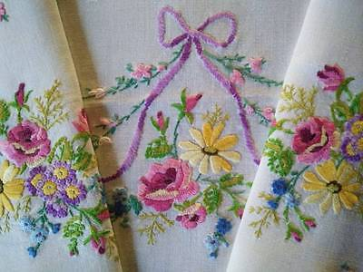 Fabulous Rose Bouquets & Bows ~ Vintage Heavily Hand Embroidered Tablecloth