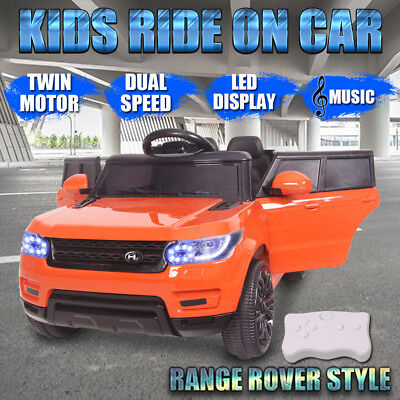 Electric Kids Ride On Car Range Rover Style Twin Motor Dual Speed Remote Orange