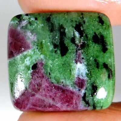 EXCELLENT 33.85cts PURE NATURAL GREEN PINK RUBY ZOISITE CUSHION CAB A+ GEMSTONE