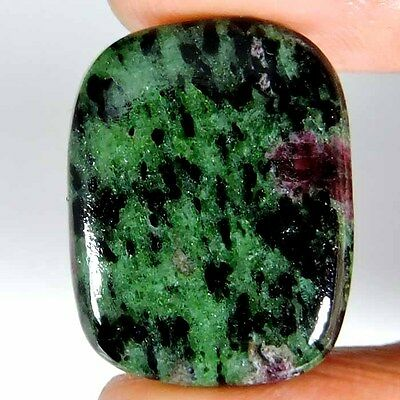 32.75cts 100% NATURAL DESIGNER GREEN PINK RUBY ZOISITE CUSHION CABOCHON GEMSTONE