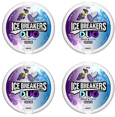 911297 4 x 36g TINS OF ICE BREAKERS DUO FRUIT + COOL GRAPE MINTS AMERICAN!