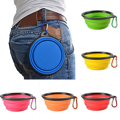 Portable Foldable Silicone Dog Bowl Travel Pet Feeding Drinking Food Container